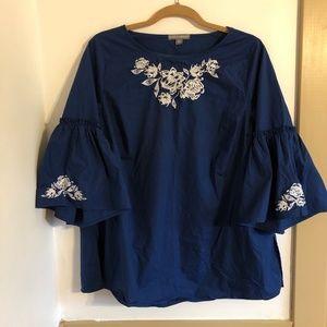 Jessica London Boho Embroidered Blue Shirt 16W